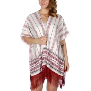 Other - ✨LAST TWO✨ Floral Stripes Ruana w/ White Fringe